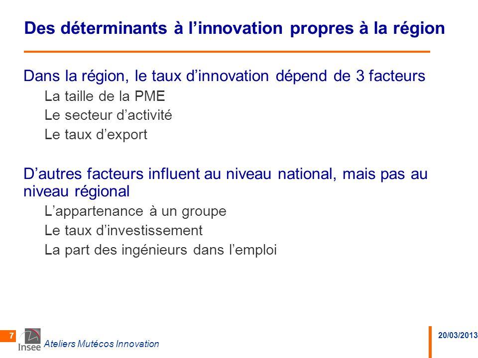 20/03/2013 Ateliers Mutécos Innovation 7 Des déterminants à linnovation propres à la région Dans la région, le taux dinnovation dépend de 3 facteurs L