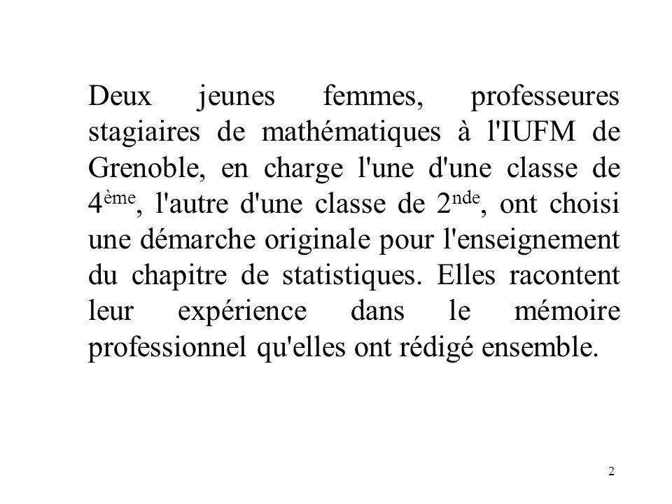 1 À partir dune expérimentation en classe d Amandine CAZANAVE et Amandine CHARRIÈRE, professeures stagiaires de mathématiques, à l'IUFM de Grenoble, p