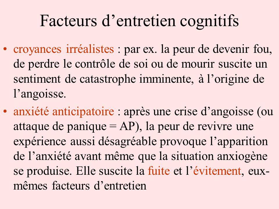 Facteurs dentretien cognitifs croyances irréalistes : par ex. la peur de devenir fou, de perdre le contrôle de soi ou de mourir suscite un sentiment d