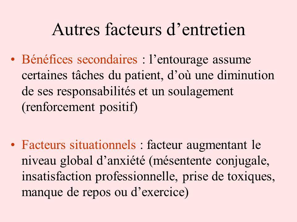 Autres facteurs dentretien Bénéfices secondaires : lentourage assume certaines tâches du patient, doù une diminution de ses responsabilités et un soul