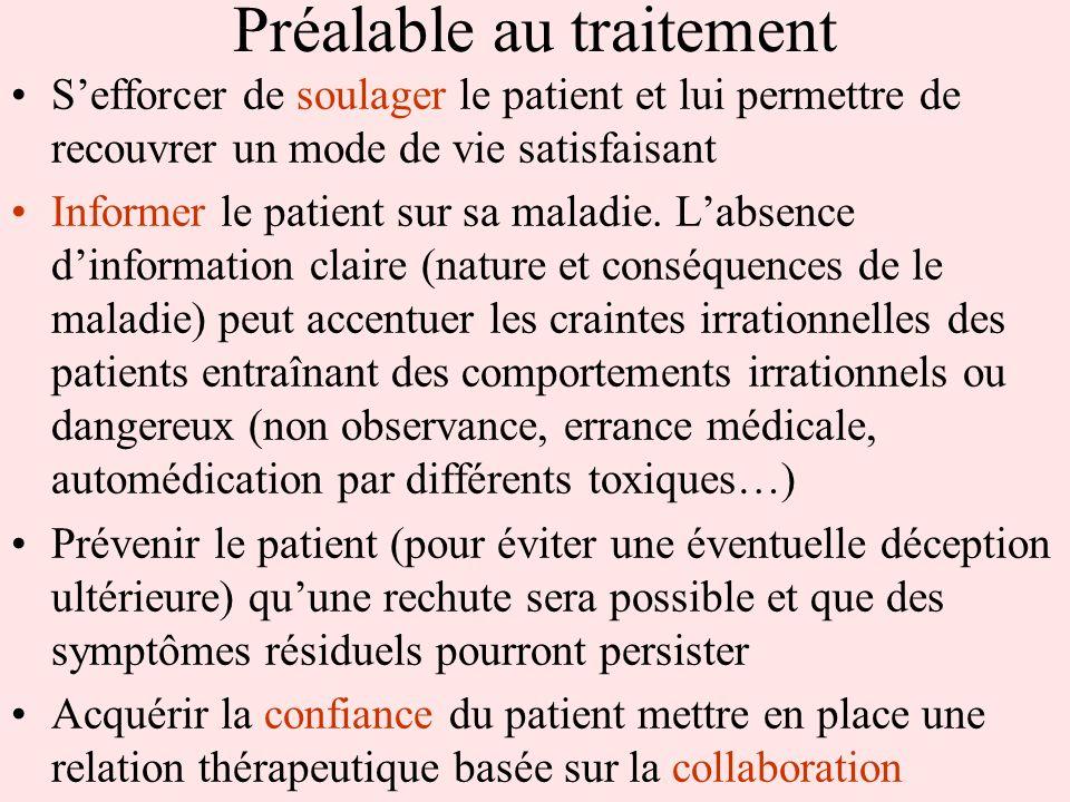 Préalable au traitement Sefforcer de soulager le patient et lui permettre de recouvrer un mode de vie satisfaisant Informer le patient sur sa maladie.