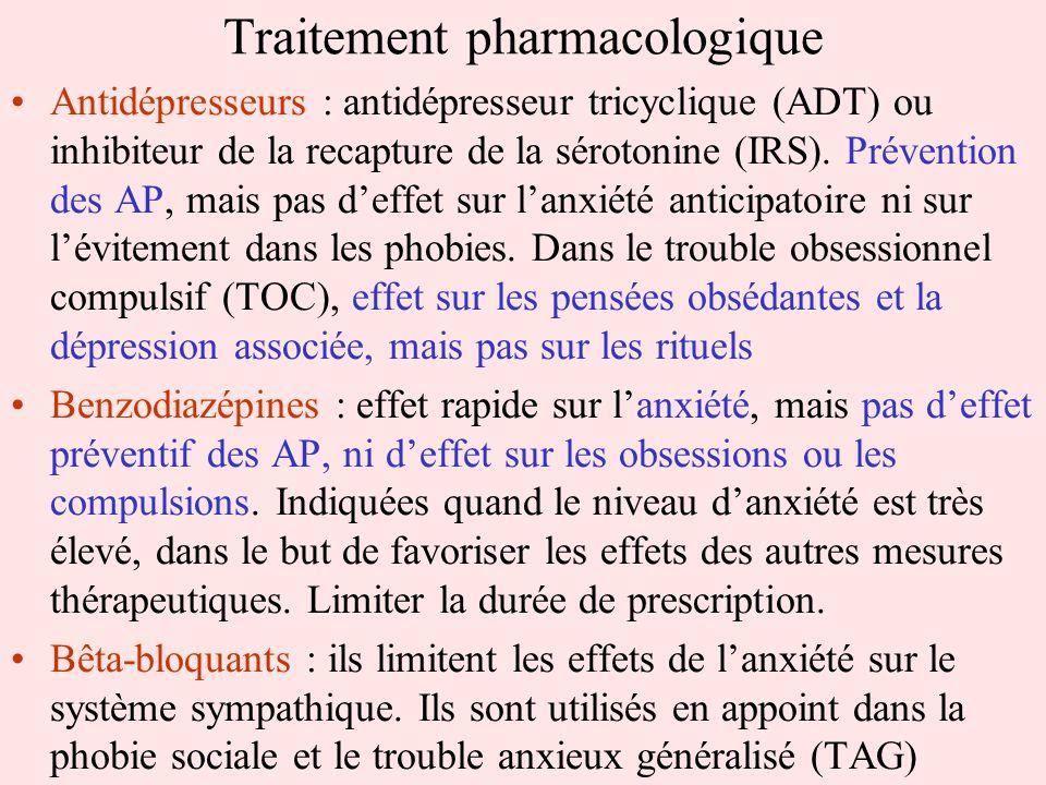 Traitement pharmacologique Antidépresseurs : antidépresseur tricyclique (ADT) ou inhibiteur de la recapture de la sérotonine (IRS). Prévention des AP,