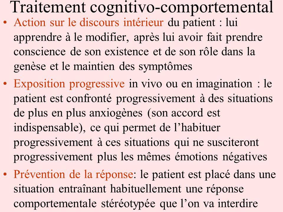 Traitement cognitivo-comportemental Action sur le discours intérieur du patient : lui apprendre à le modifier, après lui avoir fait prendre conscience
