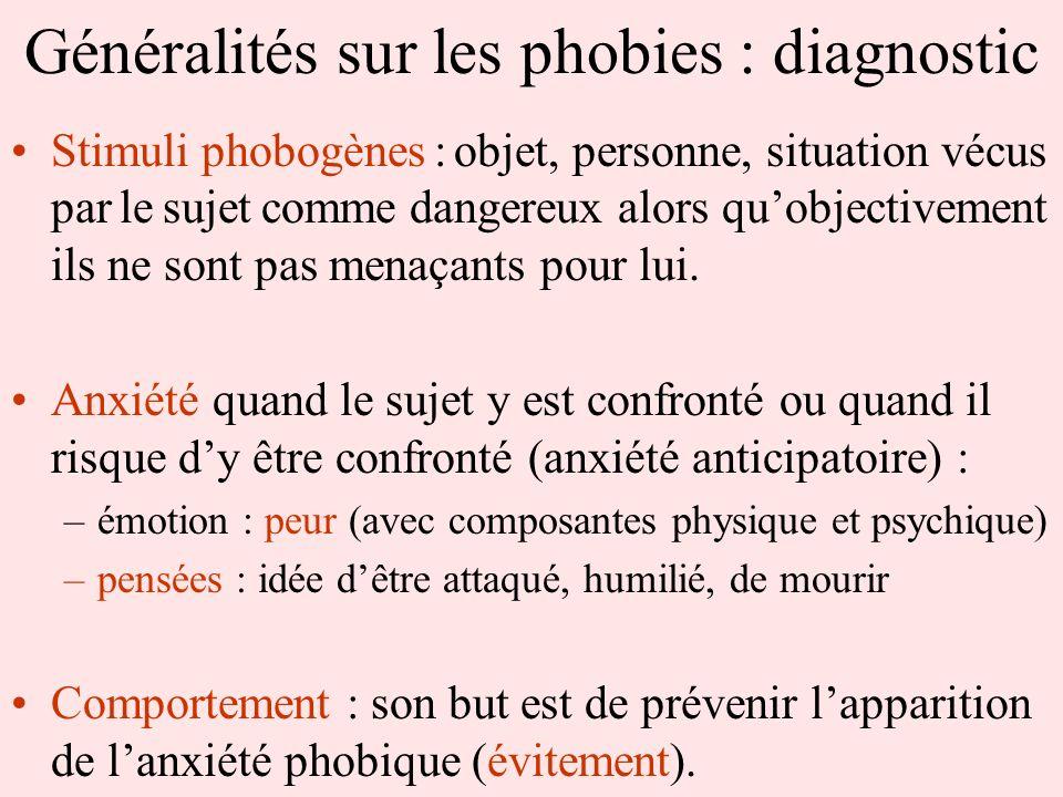 Généralités sur les phobies : diagnostic Stimuli phobogènes : objet, personne, situation vécus par le sujet comme dangereux alors quobjectivement ils