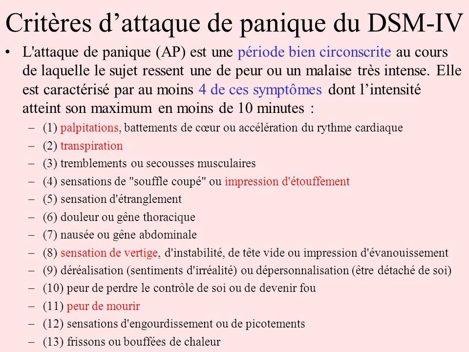 Critères dattaque de panique du DSM-IV L'attaque de panique (AP) est une période bien circonscrite au cours de laquelle le sujet ressent une de peur o