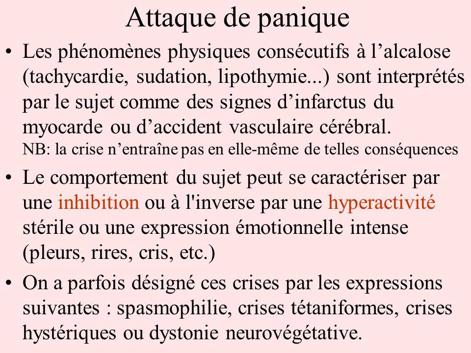 Attaque de panique Les phénomènes physiques consécutifs à lalcalose (tachycardie, sudation, lipothymie...) sont interprétés par le sujet comme des sig
