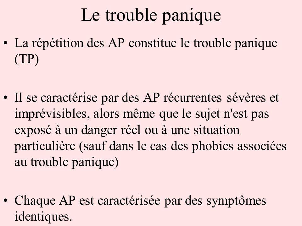 Le trouble panique La répétition des AP constitue le trouble panique (TP) Il se caractérise par des AP récurrentes sévères et imprévisibles, alors mêm