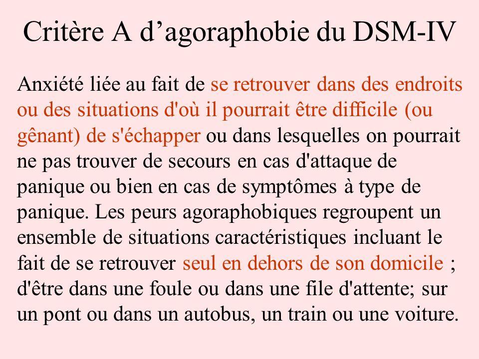 Critère A dagoraphobie du DSM-IV Anxiété liée au fait de se retrouver dans des endroits ou des situations d'où il pourrait être difficile (ou gênant)