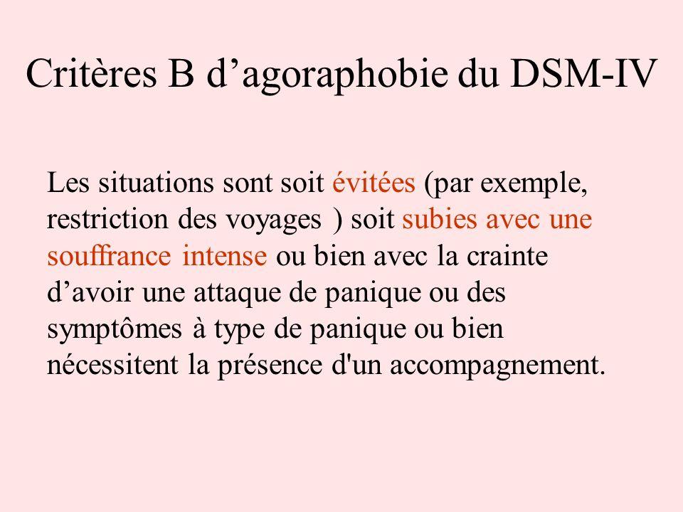 Critères B dagoraphobie du DSM-IV Les situations sont soit évitées (par exemple, restriction des voyages ) soit subies avec une souffrance intense ou