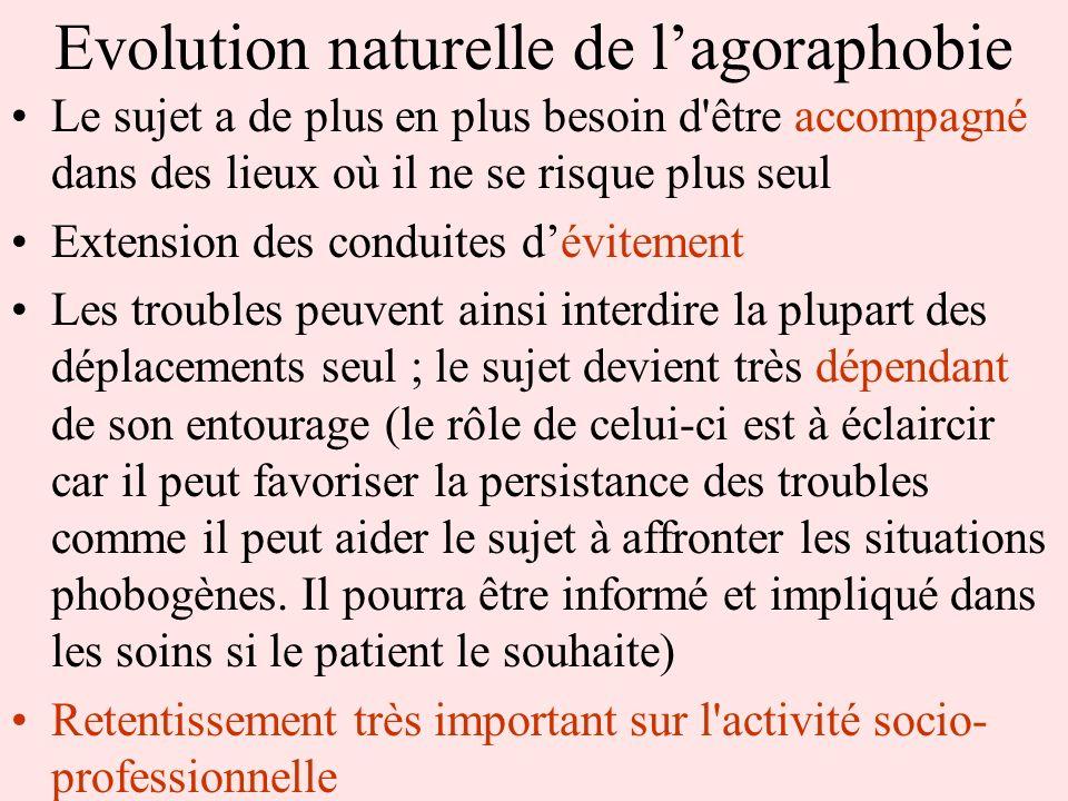 Evolution naturelle de lagoraphobie Le sujet a de plus en plus besoin d'être accompagné dans des lieux où il ne se risque plus seul Extension des cond