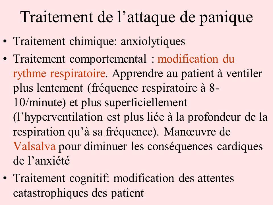 Traitement de lattaque de panique Traitement chimique: anxiolytiques Traitement comportemental : modification du rythme respiratoire. Apprendre au pat