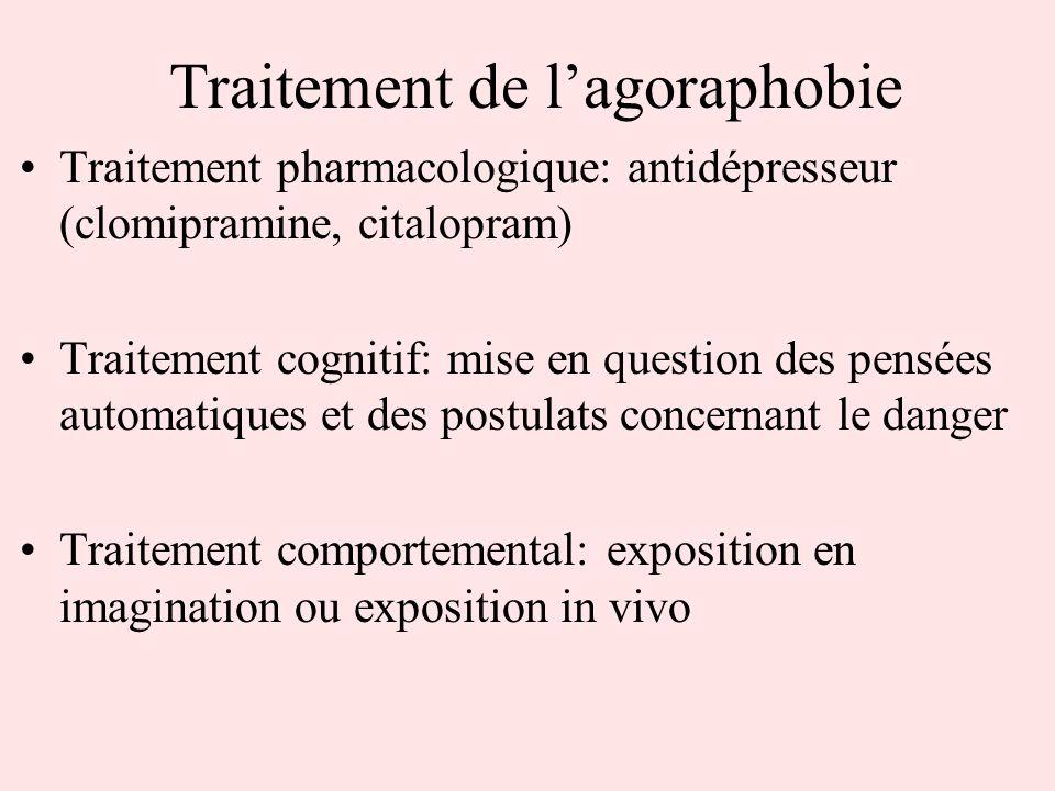 Traitement de lagoraphobie Traitement pharmacologique: antidépresseur (clomipramine, citalopram) Traitement cognitif: mise en question des pensées aut