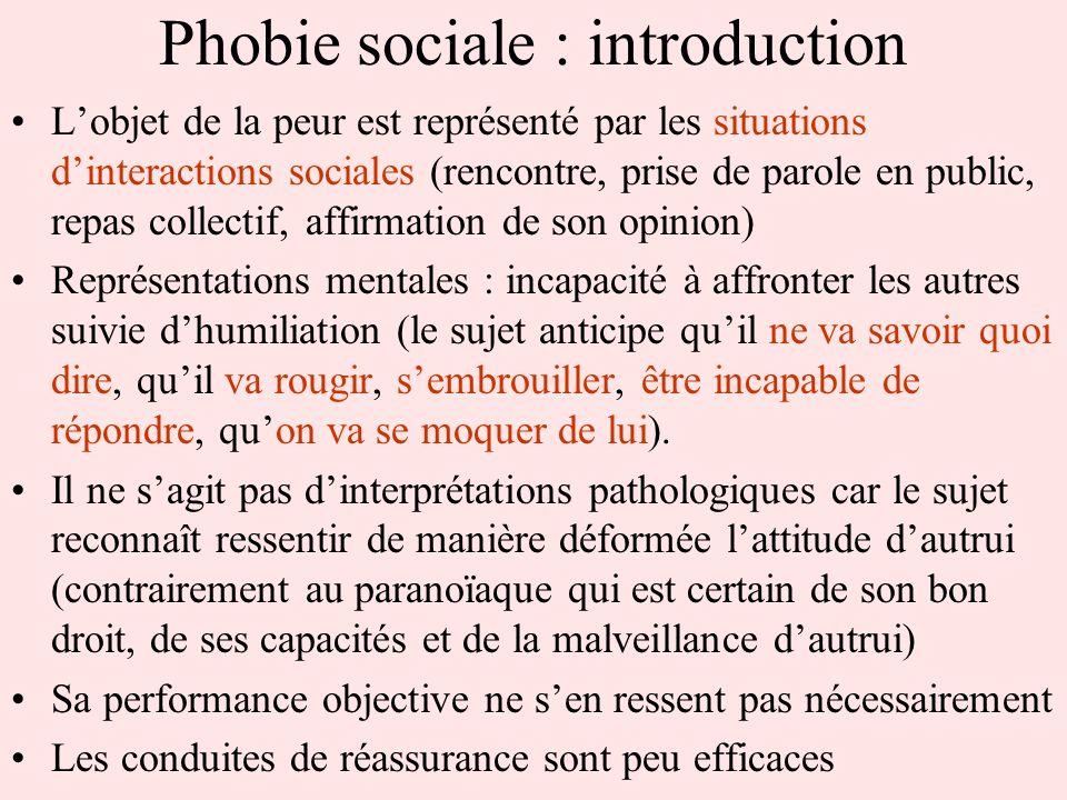 Phobie sociale : introduction Lobjet de la peur est représenté par les situations dinteractions sociales (rencontre, prise de parole en public, repas