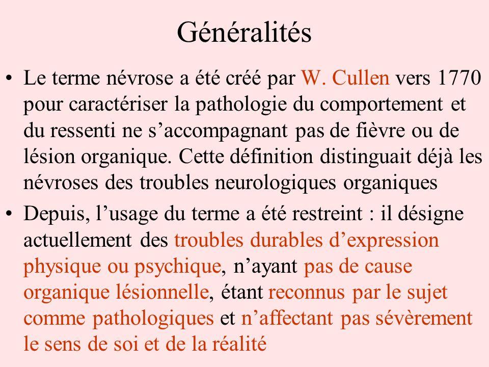 Généralités Le terme névrose a été créé par W. Cullen vers 1770 pour caractériser la pathologie du comportement et du ressenti ne saccompagnant pas de