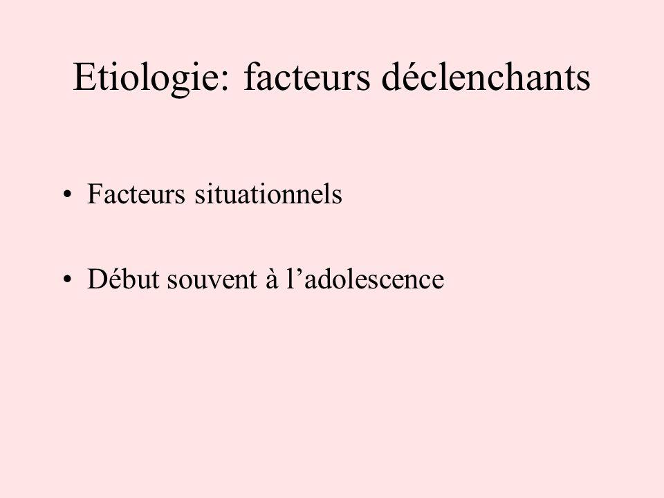 Etiologie: facteurs déclenchants Facteurs situationnels Début souvent à ladolescence