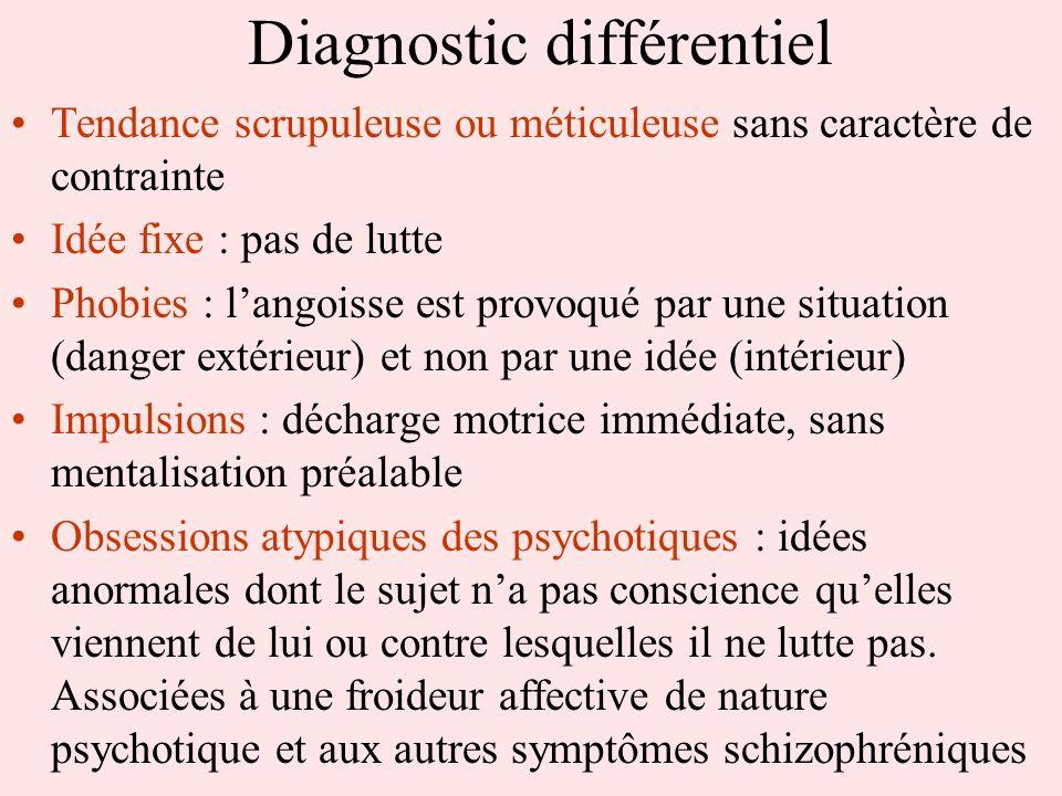 Diagnostic différentiel Tendance scrupuleuse ou méticuleuse sans caractère de contrainte Idée fixe : pas de lutte Phobies : langoisse est provoqué par