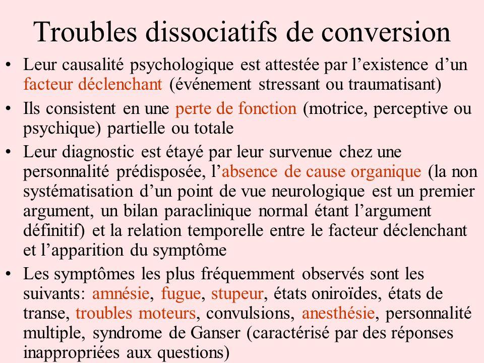 Troubles dissociatifs de conversion Leur causalité psychologique est attestée par lexistence dun facteur déclenchant (événement stressant ou traumatis