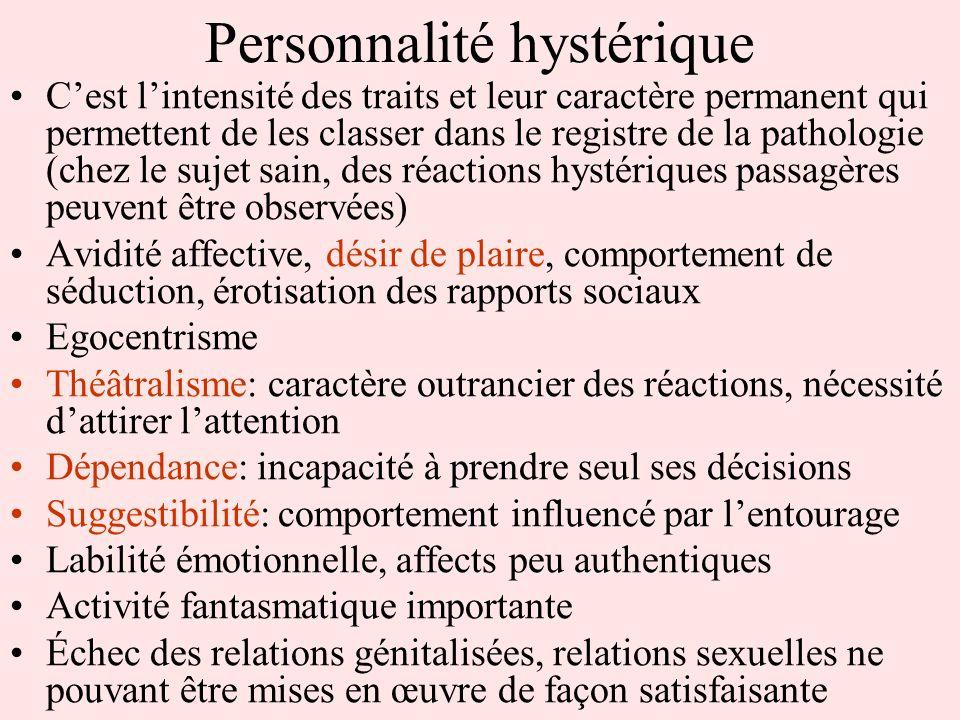 Personnalité hystérique Cest lintensité des traits et leur caractère permanent qui permettent de les classer dans le registre de la pathologie (chez l