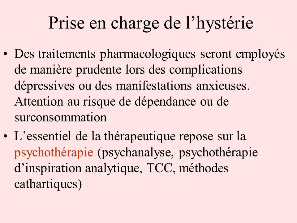 Prise en charge de lhystérie Des traitements pharmacologiques seront employés de manière prudente lors des complications dépressives ou des manifestat