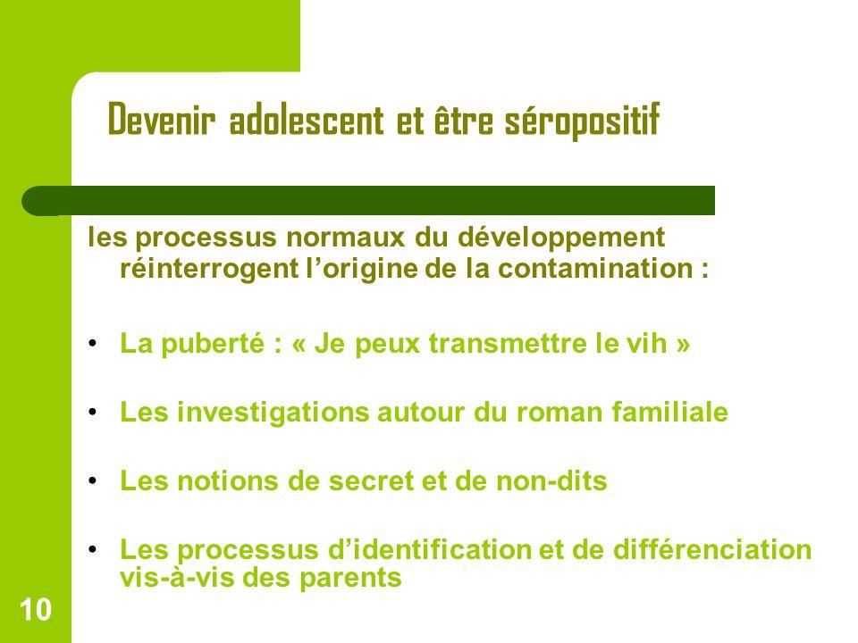 10 Devenir adolescent et être séropositif les processus normaux du développement réinterrogent lorigine de la contamination : La puberté : « Je peux t