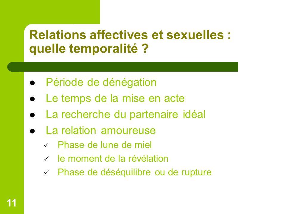 11 Relations affectives et sexuelles : quelle temporalité ? Période de dénégation Le temps de la mise en acte La recherche du partenaire idéal La rela