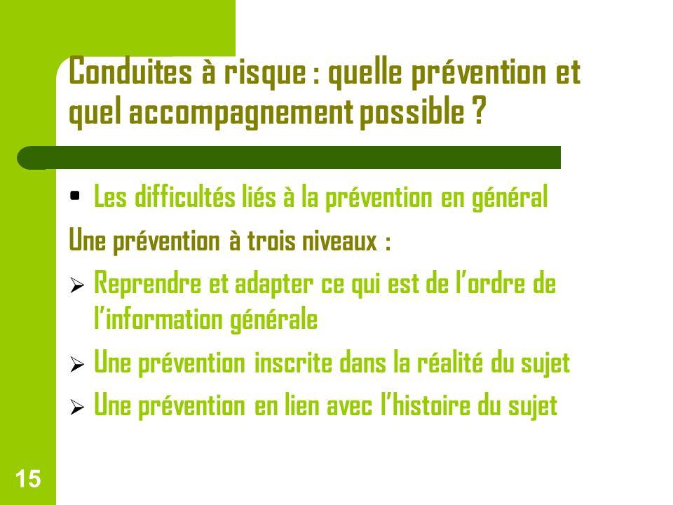 15 Conduites à risque : quelle prévention et quel accompagnement possible ? Les difficultés liés à la prévention en général Une prévention à trois niv