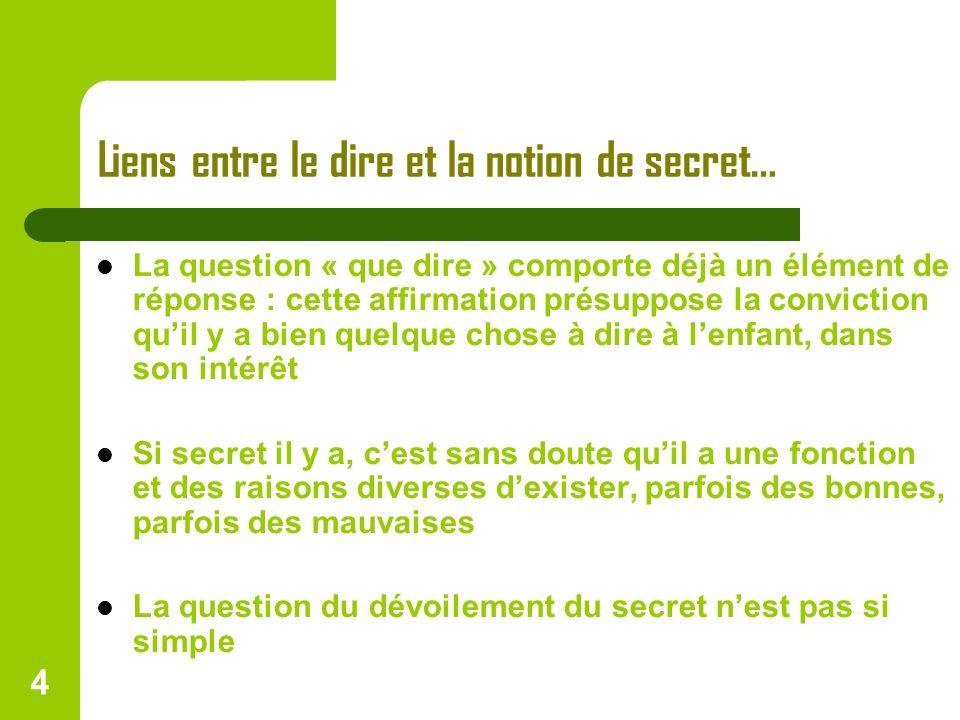 4 Liens entre le dire et la notion de secret… La question « que dire » comporte déjà un élément de réponse : cette affirmation présuppose la convictio