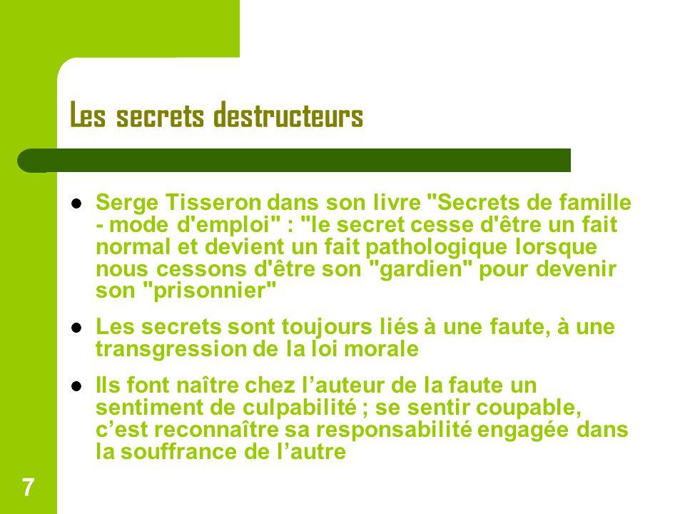 7 Les secrets destructeurs Serge Tisseron dans son livre