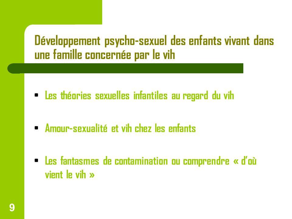 9 Développement psycho-sexuel des enfants vivant dans une famille concernée par le vih Les théories sexuelles infantiles au regard du vih Amour-sexual