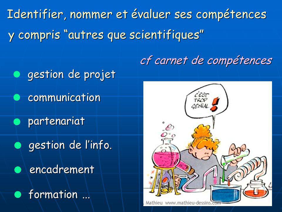 7 Identifier, nommer et évaluer ses compétences communication gestion de projet partenariat gestion de linfo. formation... cf carnet de compétences y