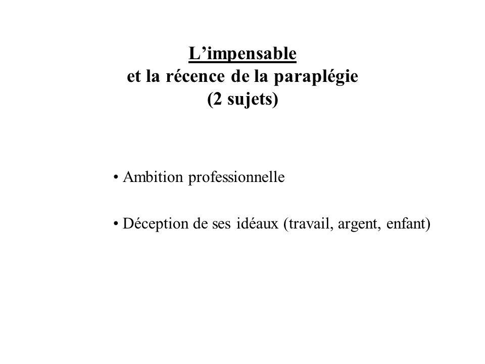 Limpensable et la récence de la paraplégie (2 sujets) Ambition professionnelle Déception de ses idéaux (travail, argent, enfant)