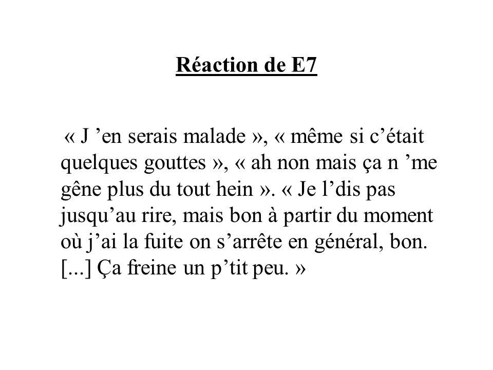 Réaction de E7 « J en serais malade », « même si cétait quelques gouttes », « ah non mais ça n me gêne plus du tout hein ». « Je ldis pas jusquau rire