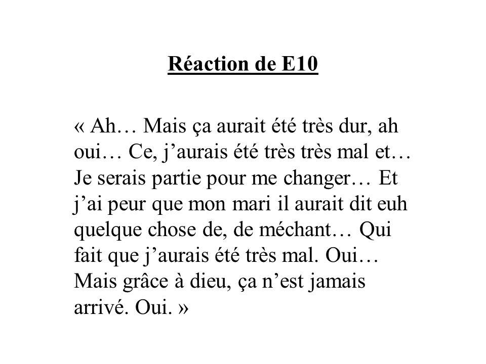 Réaction de E10 « Ah… Mais ça aurait été très dur, ah oui… Ce, jaurais été très très mal et… Je serais partie pour me changer… Et jai peur que mon mar