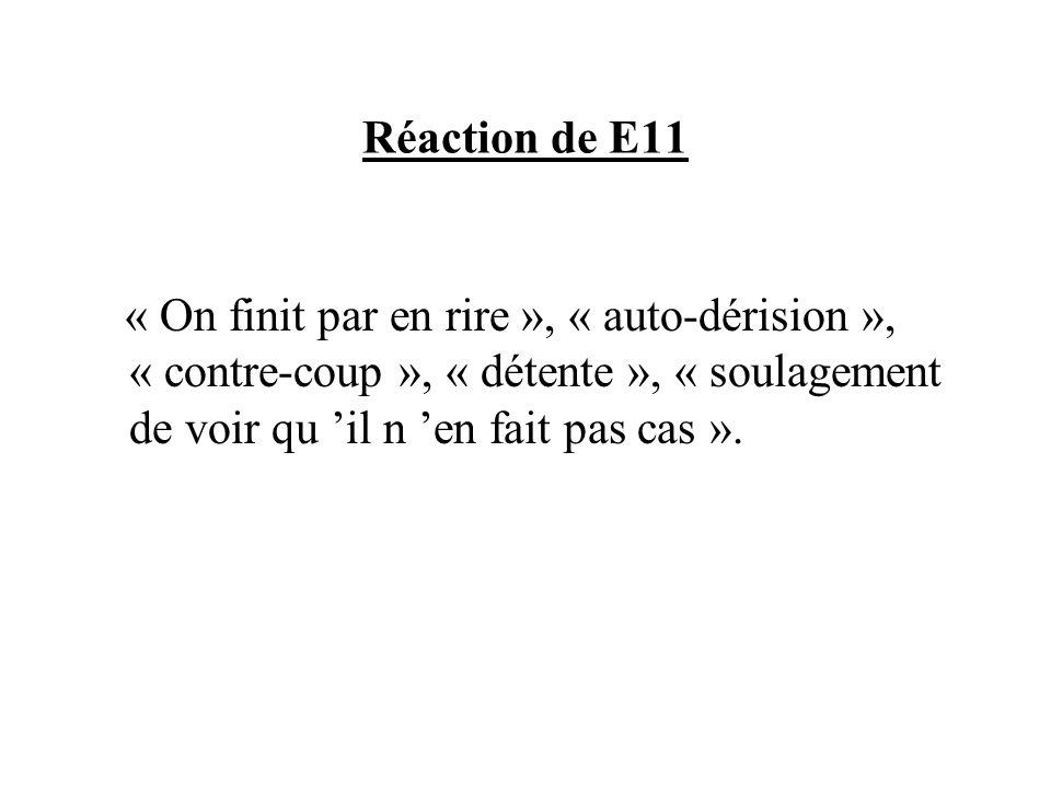 Réaction de E11 « On finit par en rire », « auto-dérision », « contre-coup », « détente », « soulagement de voir qu il n en fait pas cas ».