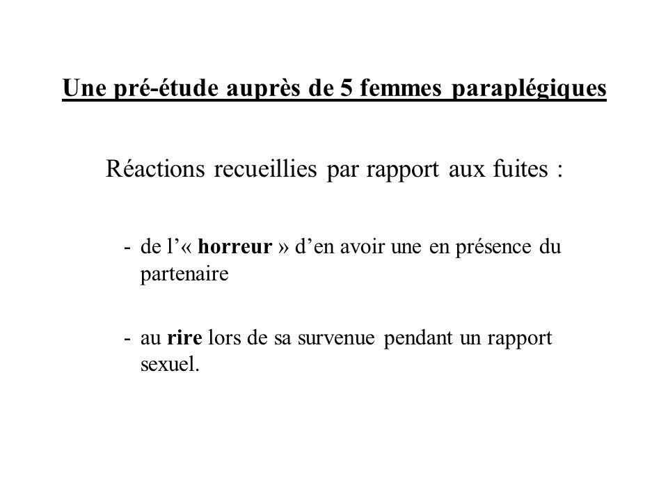 Les variables de la recherche Variable dépendante : réaction de la femme paraplégique face à la survenue produite ou supposée dune fuite lors dun rapport sexuel.