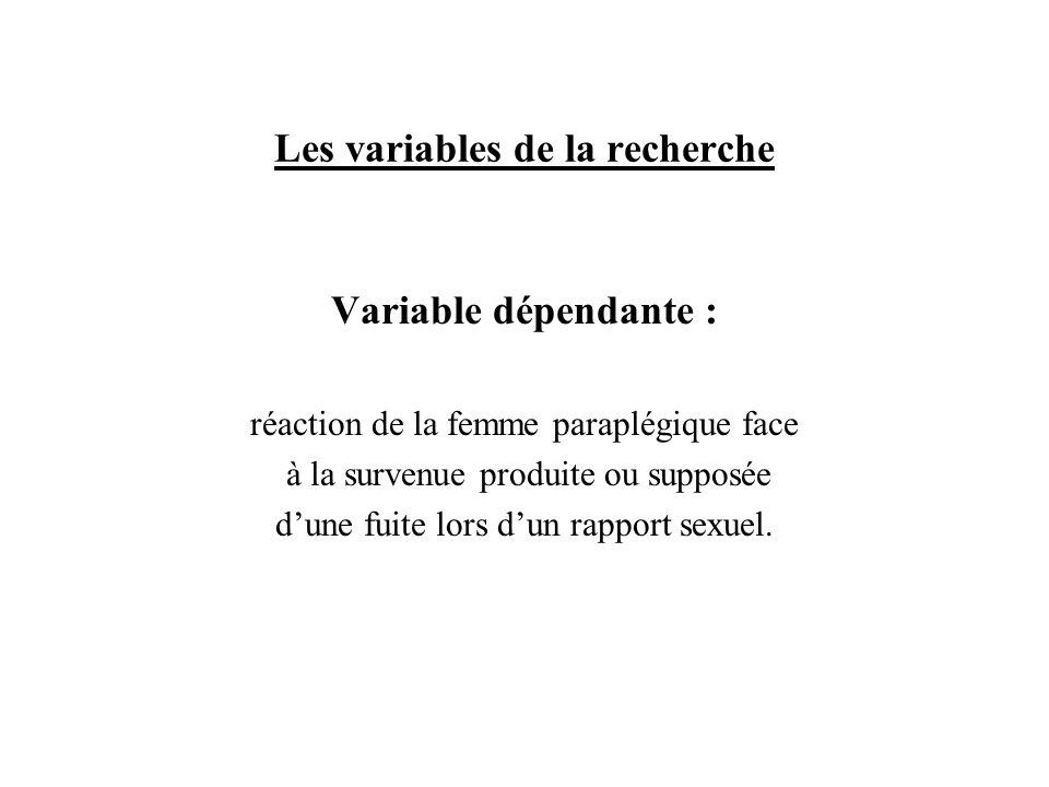 Les variables de la recherche Variable dépendante : réaction de la femme paraplégique face à la survenue produite ou supposée dune fuite lors dun rapp