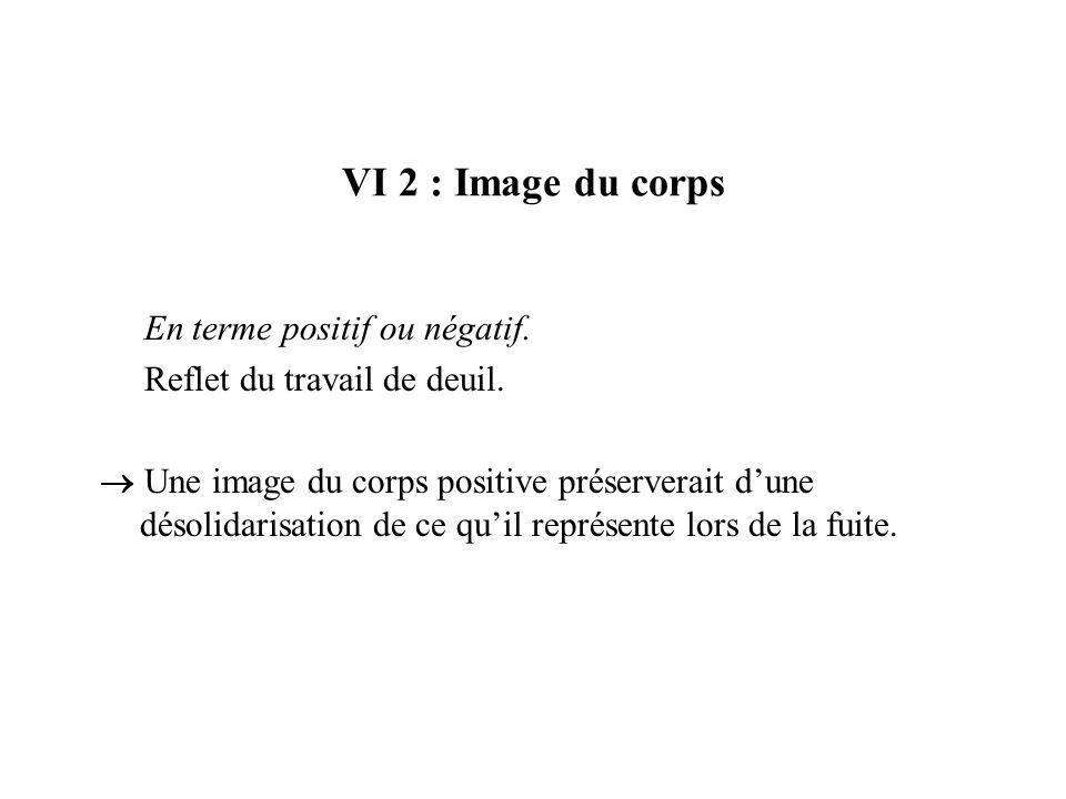 VI 2 : Image du corps En terme positif ou négatif. Reflet du travail de deuil. Une image du corps positive préserverait dune désolidarisation de ce qu
