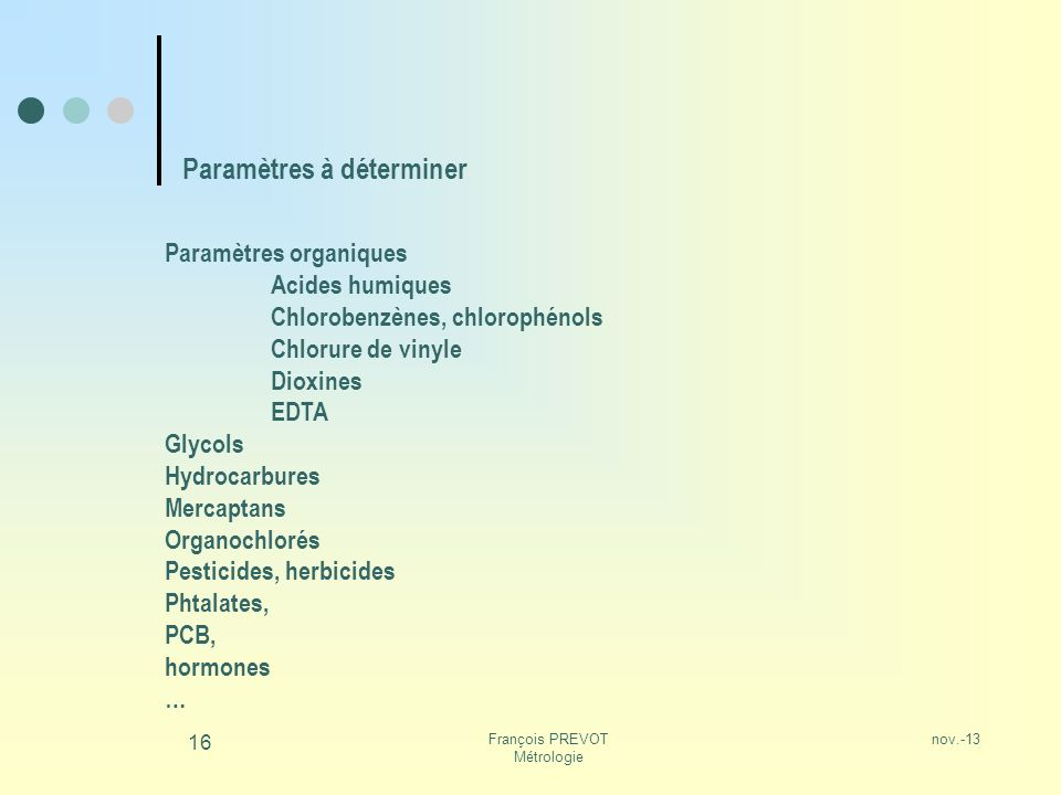 nov.-13François PREVOT Métrologie 16 Paramètres à déterminer Paramètres organiques Acides humiques Chlorobenzènes, chlorophénols Chlorure de vinyle Di