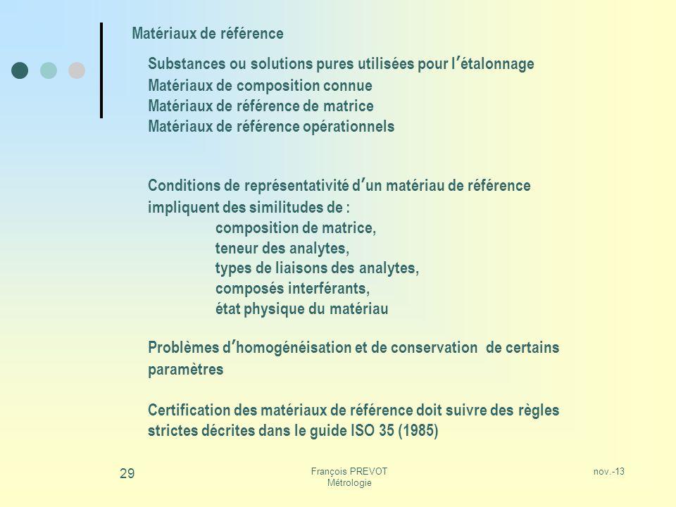 nov.-13François PREVOT Métrologie 29 Matériaux de référence Substances ou solutions pures utilisées pour létalonnage Matériaux de composition connue M