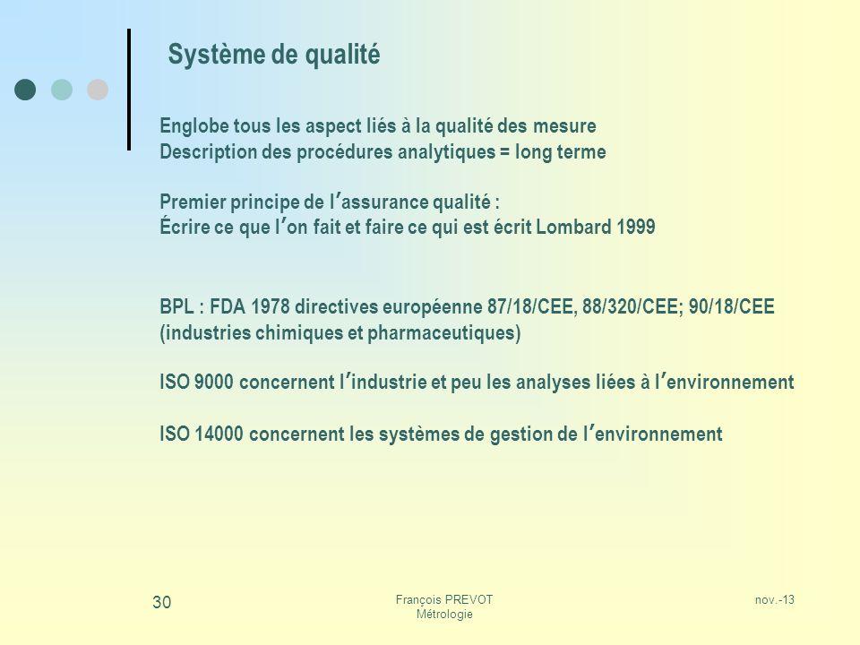 nov.-13François PREVOT Métrologie 30 Système de qualité Englobe tous les aspect liés à la qualité des mesure Description des procédures analytiques =