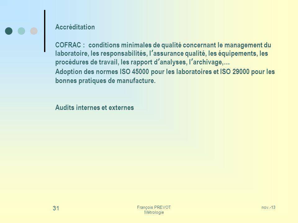 nov.-13François PREVOT Métrologie 31 Accréditation COFRAC : conditions minimales de qualité concernant le management du laboratoire, les responsabilit