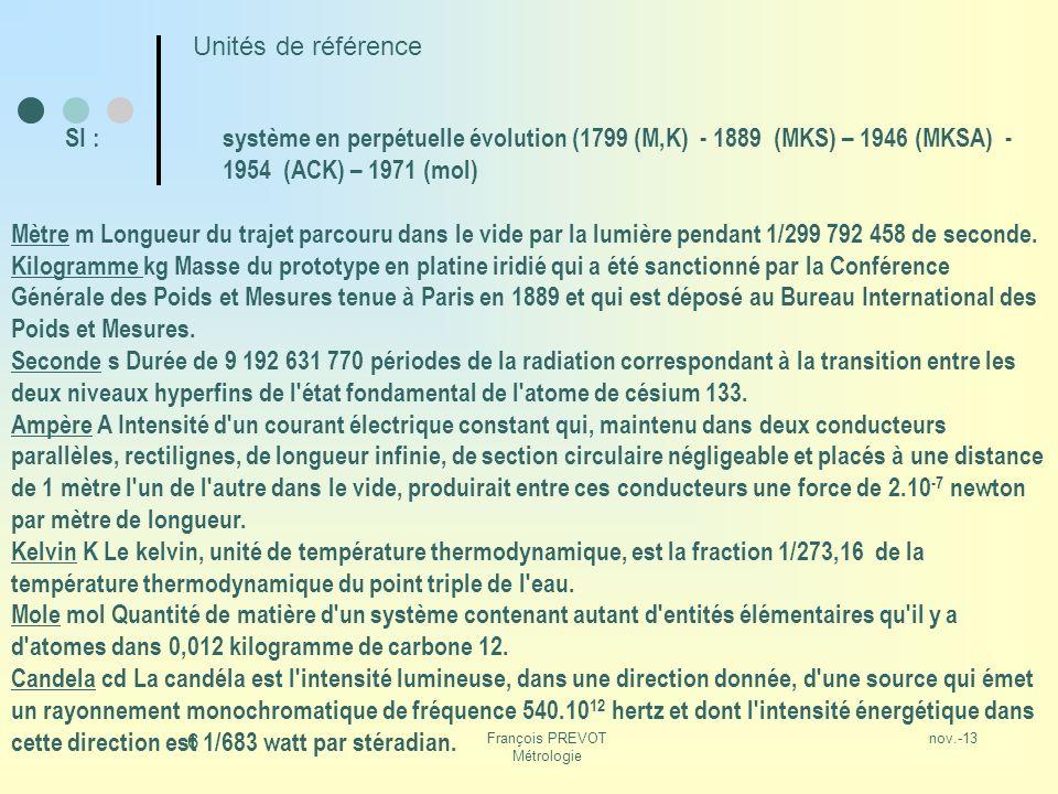 nov.-13François PREVOT Métrologie 6 Unités de référence SI :système en perpétuelle évolution (1799 (M,K) - 1889 (MKS) – 1946 (MKSA) - 1954 (ACK) – 197