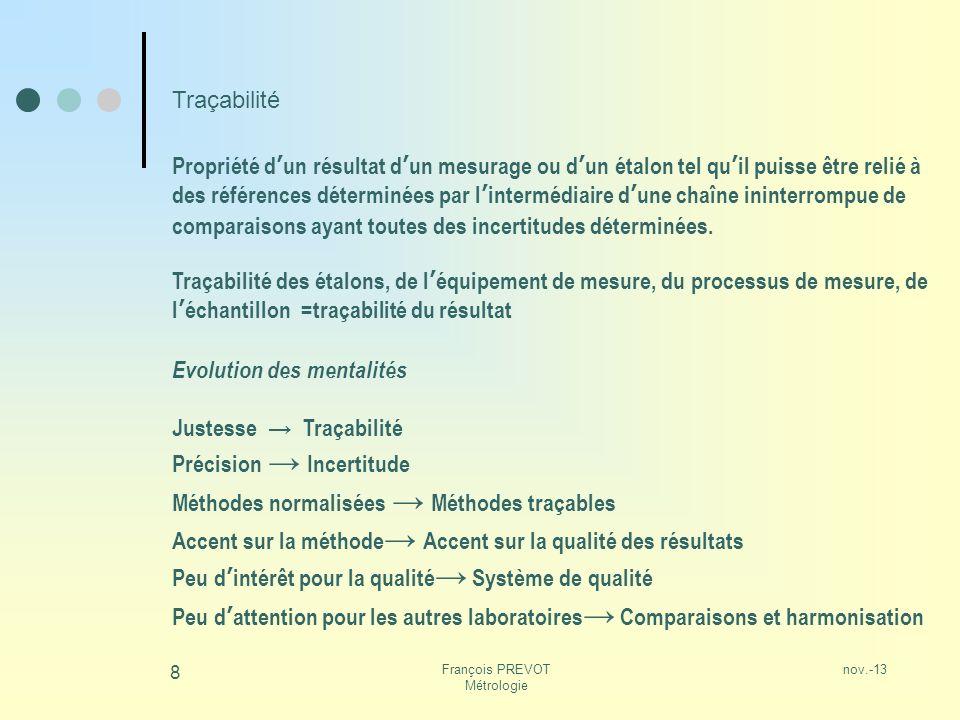 nov.-13François PREVOT Métrologie 8 Traçabilité Propriété dun résultat dun mesurage ou dun étalon tel quil puisse être relié à des références détermin