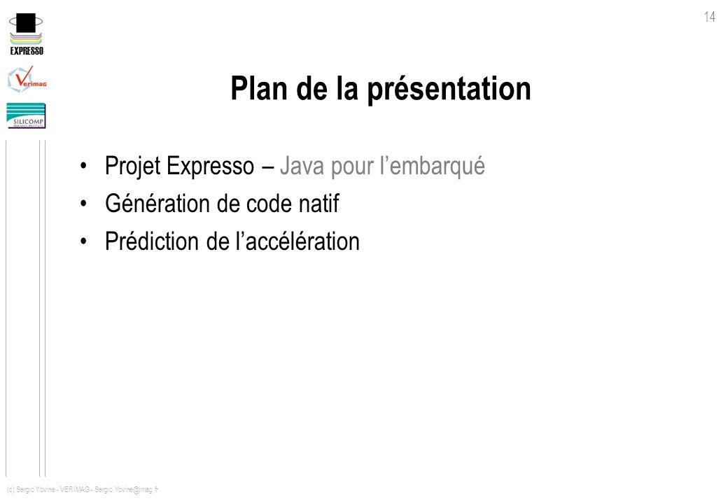 EXPRESSO 14 (c) Sergio Yovine - VERIMAG - Sergio.Yovine@imag.fr Plan de la présentation Projet Expresso – Java pour lembarqué Génération de code natif