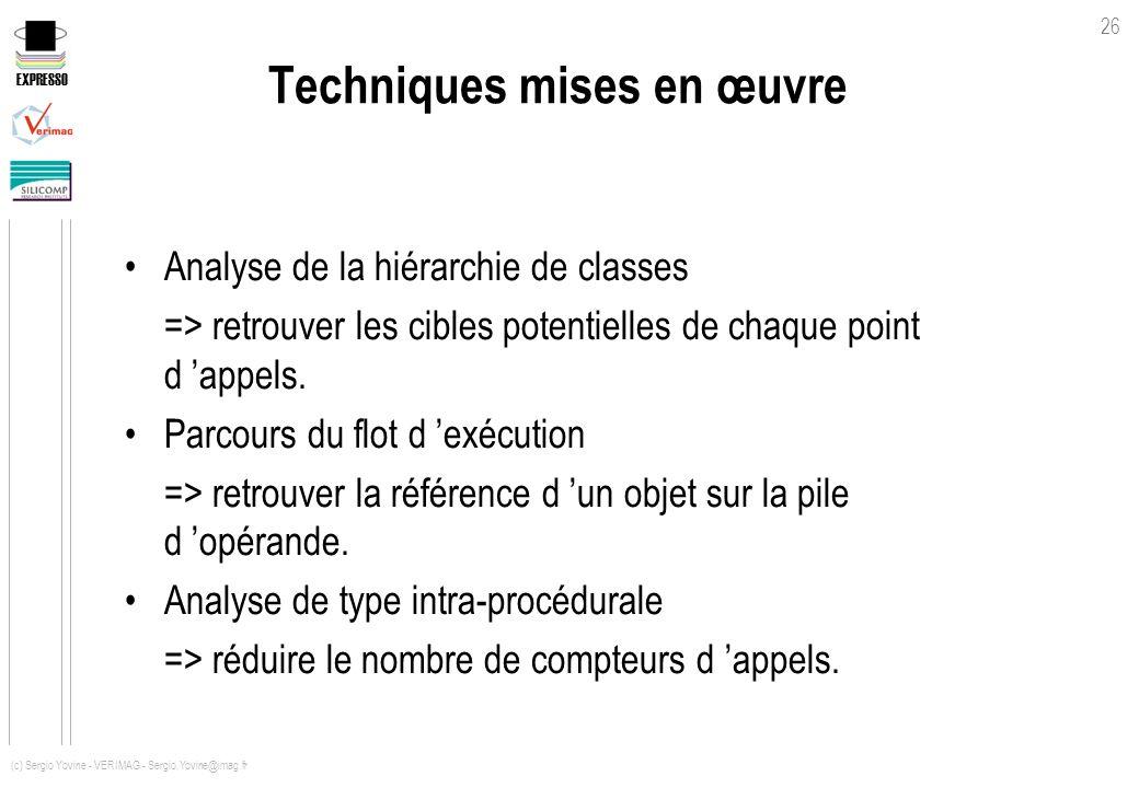 EXPRESSO 26 (c) Sergio Yovine - VERIMAG - Sergio.Yovine@imag.fr Techniques mises en œuvre Analyse de la hiérarchie de classes => retrouver les cibles