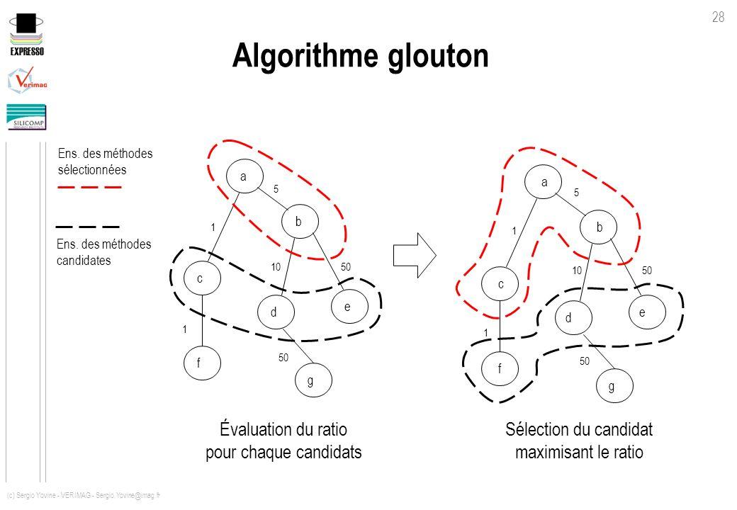 EXPRESSO 28 (c) Sergio Yovine - VERIMAG - Sergio.Yovine@imag.fr Algorithme glouton c d e f a b c d e f g g a b Ens. des méthodes sélectionnées Ens. de