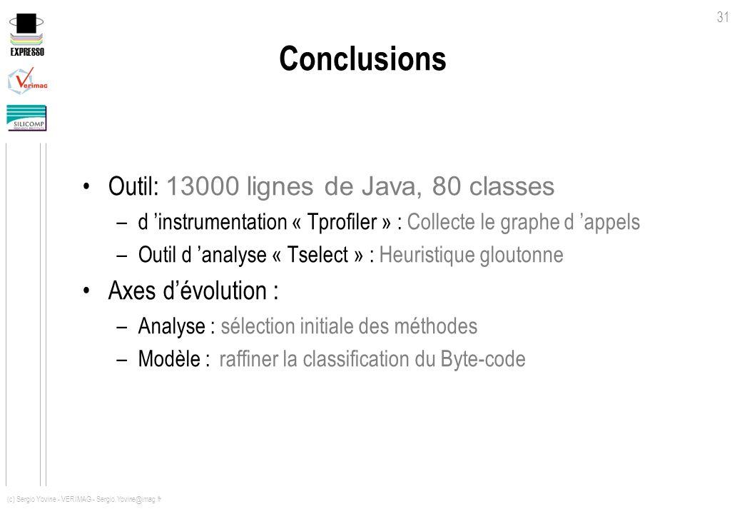 EXPRESSO 31 (c) Sergio Yovine - VERIMAG - Sergio.Yovine@imag.fr Conclusions Outil: 13000 lignes de Java, 80 classes –d instrumentation « Tprofiler » :