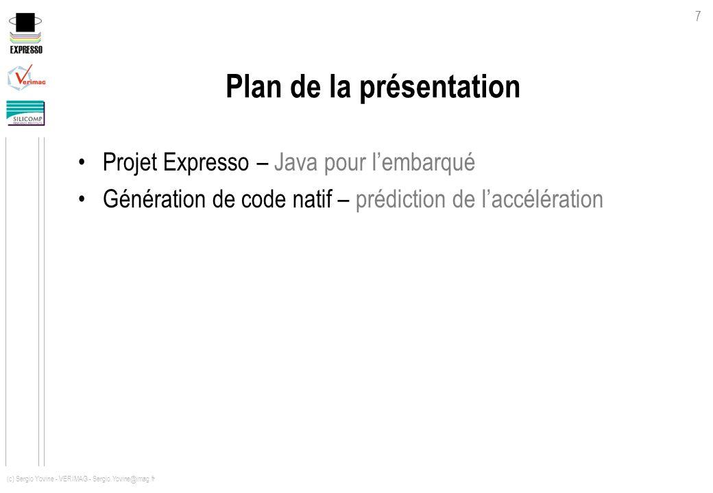 EXPRESSO 7 (c) Sergio Yovine - VERIMAG - Sergio.Yovine@imag.fr Plan de la présentation Projet Expresso – Java pour lembarqué Génération de code natif