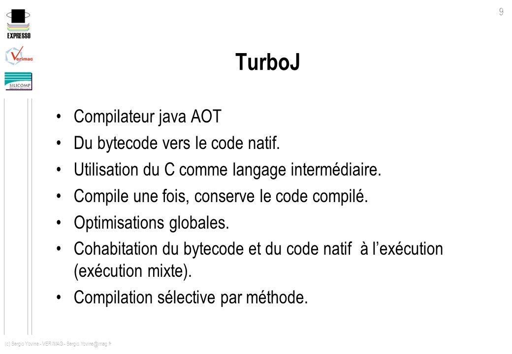 EXPRESSO 9 (c) Sergio Yovine - VERIMAG - Sergio.Yovine@imag.fr TurboJ Compilateur java AOT Du bytecode vers le code natif. Utilisation du C comme lang