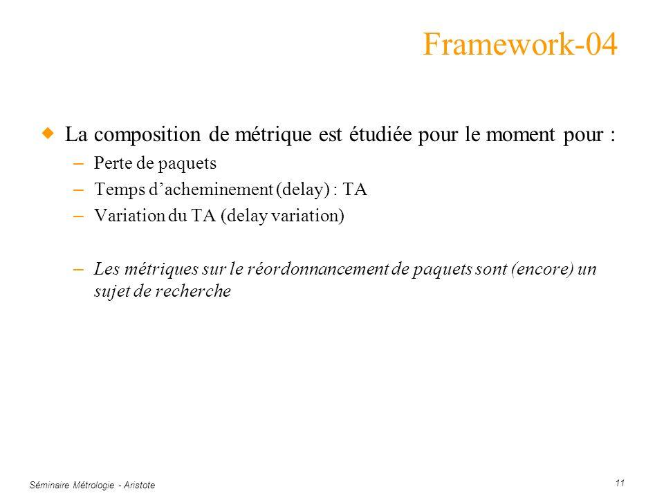 Séminaire Métrologie - Aristote 11 Framework-04 La composition de métrique est étudiée pour le moment pour : – Perte de paquets – Temps dacheminement